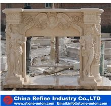 Beige Hand Craft Human Carving Sculptured Polished Natural Marble Interior Decorated Warm Western Style Fireplace Mantel Surround Cover Modern Design
