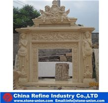 Beige Marble Hand Craft Carving Sculptured Fireplace Mantel Design,Beige Home Decorated Warm Cover Surround Western Style Customized Size