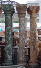 China Multicolor Marble Carving Column