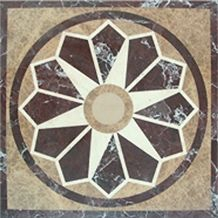 China Multicolor Marble Waterjet Mosaic Floor Medallion Patterns