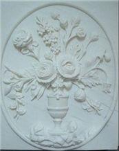 Flower Sculptured Marble Relief
