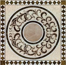 Natural Stone China Multicolor Marble Waterjet Marble Tile Floor Medallion Design