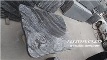 Round Edge Polished Ancient Wood Marble, Kenya Black Marble Table Tops