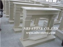 Western Style Fireplace,China Beige Marble Fireplace,Statuary Marble Fireplace Design