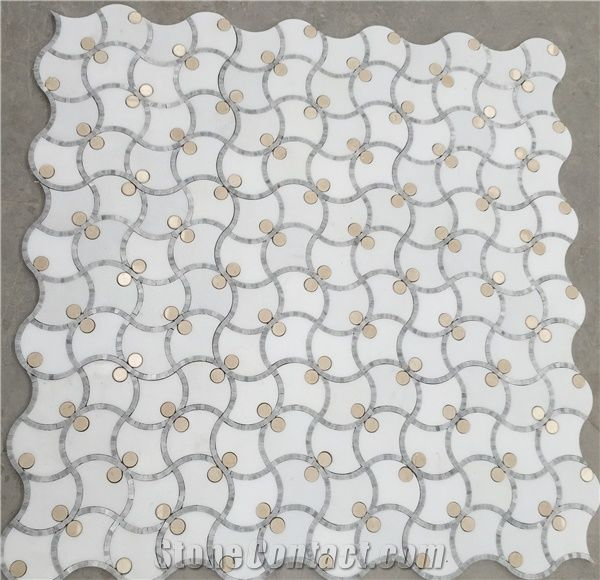Calacatta Gold Marble Thassos Waterjet Mosaic Tiles Italy