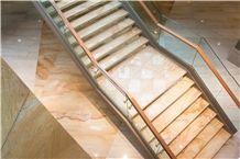 Polished Golden Macauba Quartzite Stairs & Steps,Brazil Yellow Quartzite Stairs Riser