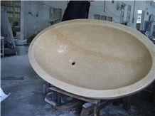 Beige Marble Bathroom Bathtub ,Polished Round/Oval Bathtub