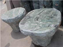 Marble Table Sets,Green Marble Garden Round Table and Stone Bench,Outdoor Stone Benches