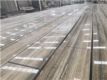 Ocean Blue Silver Travertine Slabs Polished,Machine Vein Cutting Panel Tiles for Walling,Floor Stepping Pattern