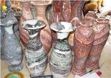 Polished Red and Brown Marble Vase,Colorful Marble Handwork Vase