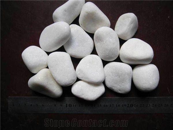 Pure White Granite Pebbles Stone China 30mm 50mm Polished