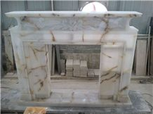 White Onyx Fireplace,Hand Works Fireplace Mantel,Handicraft Carving