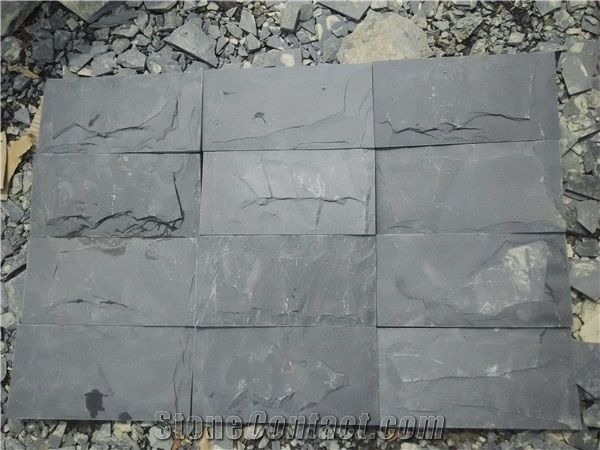 Split Face Stone Black Slate Tiles For Wall Cladding