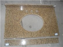 Vietnam Yellow/ Rust Granite Vanities with Drilling Round Sink Hole for Bathroom, Countertops, Custom Tops Designs for Interior Deocration, Natural Building Stone Use for Toilet, Custom Design Factory