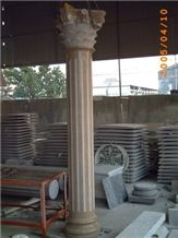 Bushed Hammered Granite Roman Columns White Pillar Stone