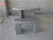 China Grey Granite Table Bench,Stone Table for Tea or Talking in the Garden,Wholesaler,Quarry Owner-Xiamen Songjia