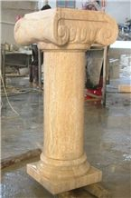 Own Factory Chinese Yellow Limstone Columns Architectural Stone Columns