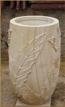 Beige Stone Flower Pot, Teak Wood Sandstone Flower Pot