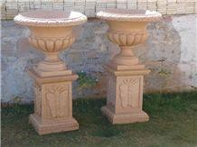 Pink Stone Flower Pot, Dholpur Pink Sandstone Flower Pot
