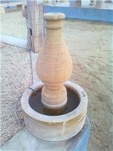 Teak Wood Yellow Sandstone Garden Fountains