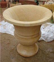 Yellow Stone Flower Pot, Lalitpur Yellow Sandstone Flower Pot