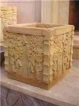 Yellow Stone Flower Pot, Teak Wood Sandstone Flower Pot