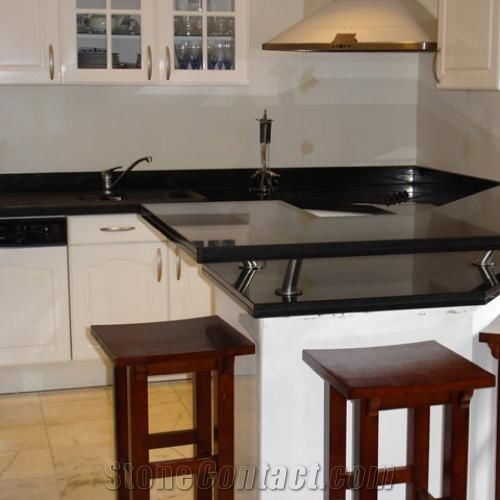 Kitchen Bar Top With Jet Black Granite From France