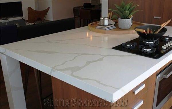 Amazing Luxury Calacatta Gold Quartz Stone Kitchen