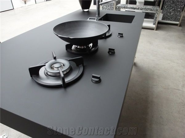 Noble Black Quartz Stone Countertops Solid Surface Non Porous And