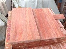 Honed Arizona Red Travertine Slabs & Tiles, Turkey Red Travertine