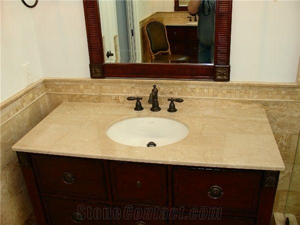 Beige Botticino Classico Marble Bathroom Countertops