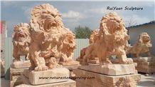 Lion Sculpture Statue, Kerman Pink Marble Statues