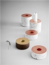 Italilan Carrara White Marble Candle Holder & Sets