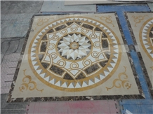 Multicolor Marble Water Jet Roud Square Medallion