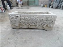 Antique Stone Carving Old Planter Fish Pool Flower Pot, Hostorical Carving Stone