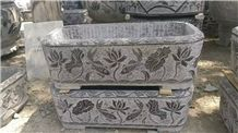 Blue Limestone Antique Relief Finish Carving Planter Fish Tank