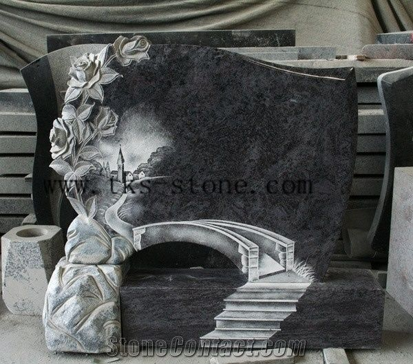 Bahama Blue Flower Carving Tombstone Monument Custom