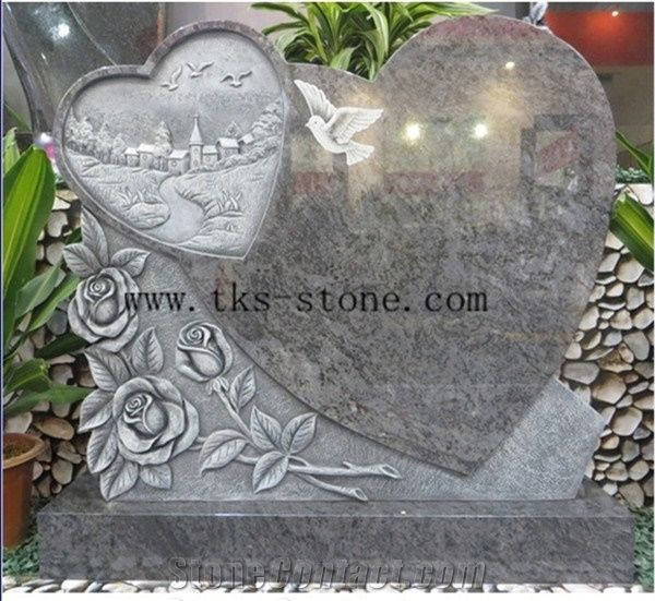 China Grey Granite Double Heart Headstone Western Style