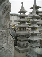 China Grey Granite Japanese Style Lanterns, Vintage Style Garden Lanterns