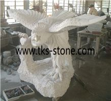 The Eagle Stretched Its Wings,Eagle Sculpture & Statue,Caving Eagle,White Granite Animal Sculptures,Statue,Landscape Sculptures
