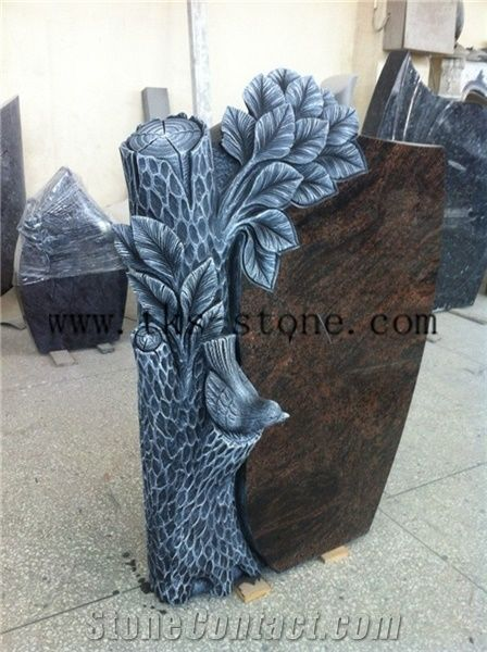 Tree Carving Headstone Brown Granite Monument Tombstone