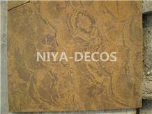 China Dark Yellow Limestone Slabs -Tiger Skin Coral Stone/Shell Stone Tiles