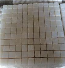 White/Light Green Afghan Mono Onyx Mosaic Tile