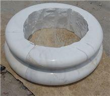 Fargo Bianco Carrara White Marble Column Base, Polished White Marble Pedestal Column