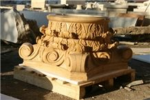 Fargo Yellow Marble Column Tops and Bases