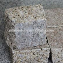 Yellow Granite Paving Stone, All Side Natural, Yellow Rusty G682, China Good Price for Granite, G682 Granite Cube Stone & Pavers
