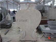 China Beige Granite Adorable European Monument with Carved Angel, Beige Granite Monument & Tombstone