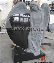 China Black Granite Angel Headstone / Tombstone with Carved Heart