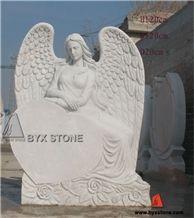 China White Marble Angel Heart Headstone / Monument / Tombstone, White Marble Monument & Tombstone