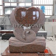 European Maple Red Memorial Tombstone / Headstone with Swan